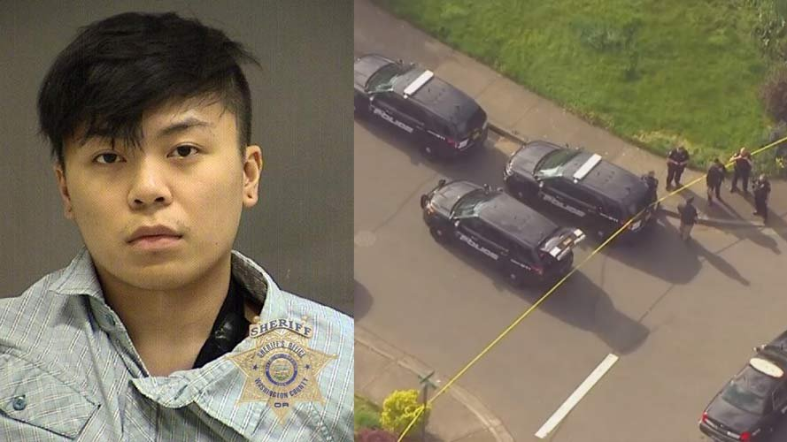 Brandon P. Syharath, jail booking photo on left, crime scene photo after officer-involved shooting on right. (KPTV)