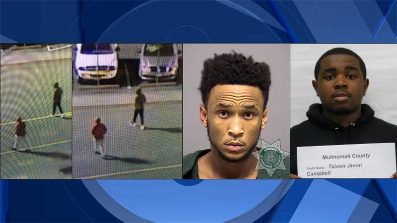 Surveillance images of suspects accused of shooting Damian Lillard's half-brother outside the Clackamas Town Center, left and center. On right, jail booking photos of Jeffrey Jessie and Taivon Campbell.