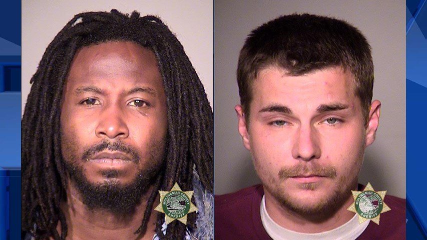 Fontaine Adams and Christopher Carhart, booking photos (Courtesy: Portland Police Bureau)
