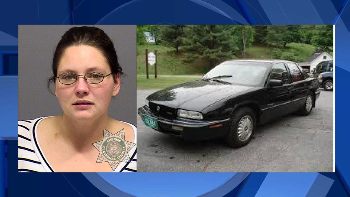 2013 booking photo of Helen Dandrea, and photo of a similar vehicle to the one that Dandrea stole. (Courtesy: Clackamas County Sheriff's Office)
