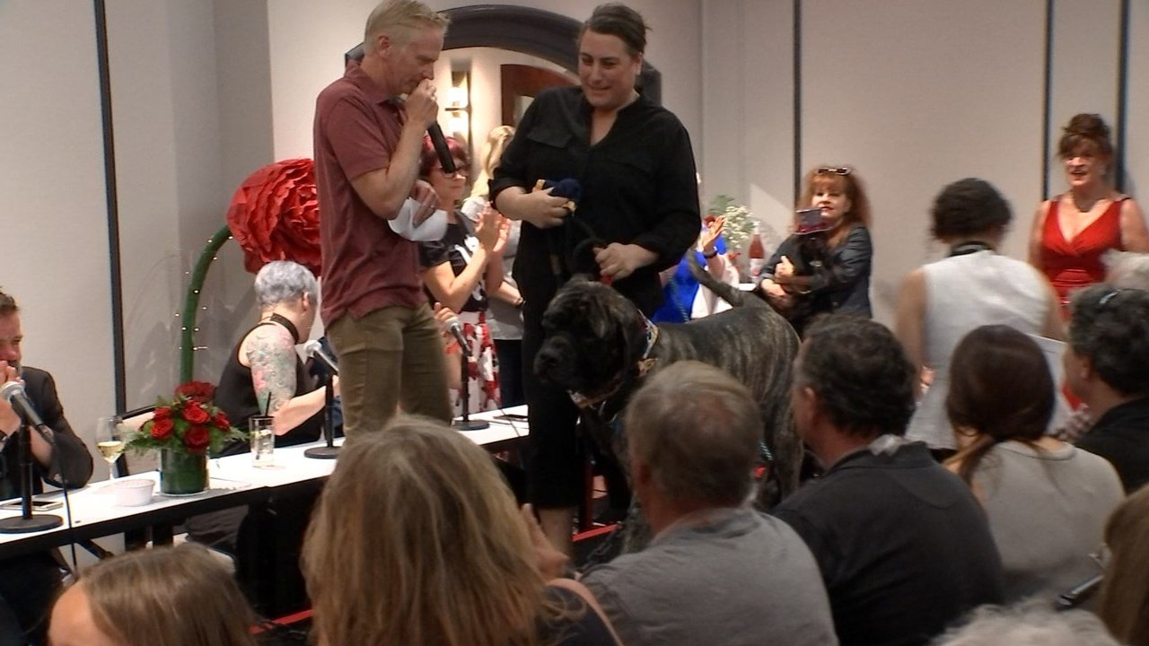 Of the five dogs selected, one dog, Diesel, was crowned as the parade's first-ever Canine Grand Marshal. (KPTV photo).