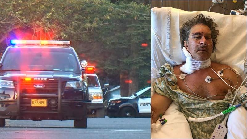 Stabbing scene in NE Portland on left. Photo of Kasey Lebechuck, provided by Kayla McNeel on right. (KPTV)