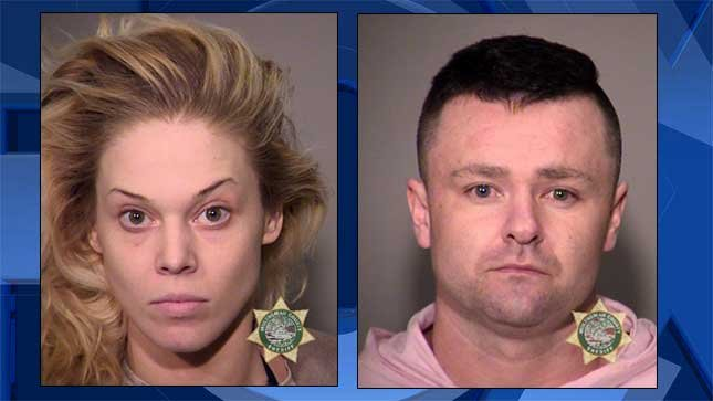 Toni Mae Collins (left) and Nicholas Anthony Devranos, booking photos.