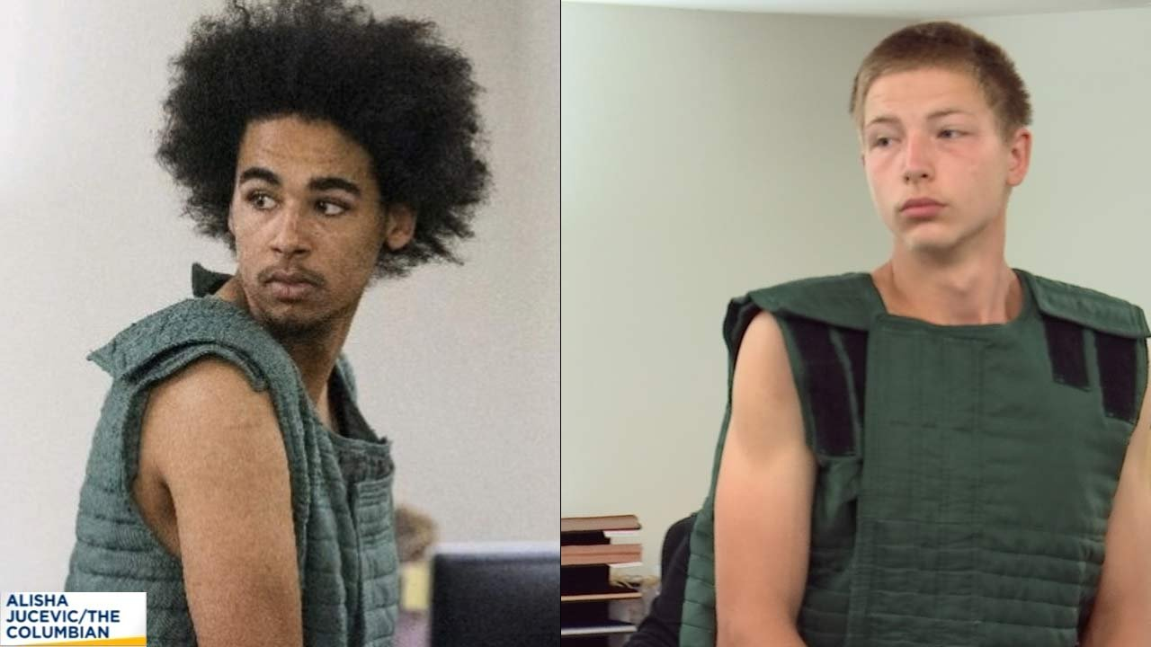 Miccah McDowell on left (photo courtesy The Columbian), Hayden Brewer on right (KPTV image)