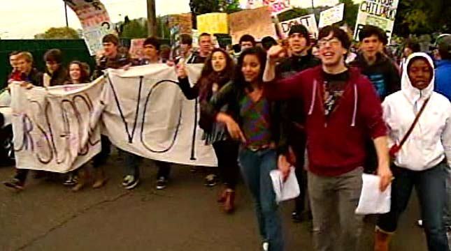 Portland school students protest budget cuts