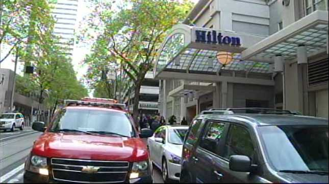 The Hilton in downtown Portland