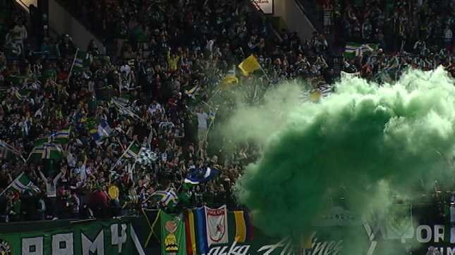 The Timbers Army celebrates a goal against the Vancouver Whitecaps on Saturday.