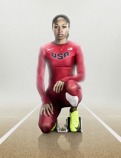Alyson Felix sports the new U.S. Olympic track uniform in a promotional shoot for Nike.