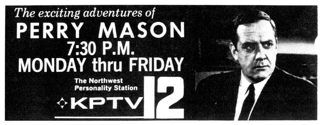 An old advertisement spreads the word about Perry Mason in its then 7:30 p.m. time slot.