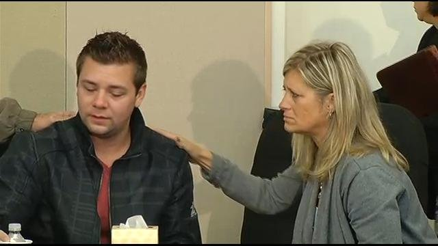 Whitney Heichel's husband and mother at Thursday's press conference