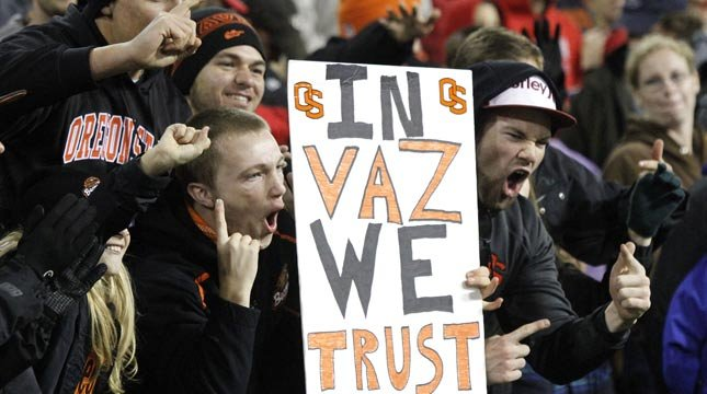 Quarterback Cody Vaz has been good to the Beavers, but Sean Mannion is back in the saddle this week. (AP Photo)