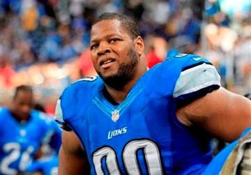 (AP Photo/Carlos Osorio). In this Nov. 18, 2012 photo, Detroit Lions defensive tackle Ndamukong Suh (90) watches from the bench during the fourth quarter of an NFL football game against the Green Bay Packers at Ford Field in Detroit.