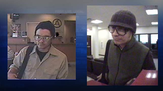 """Portland police say these surveillance photos from local banks show the """"Hipster Bandit."""""""