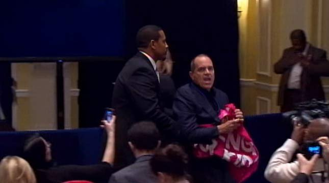 Protesters interrupted the NRA's news conference twice.