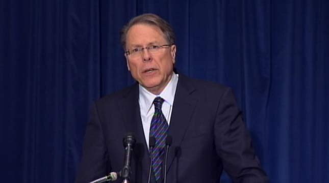 "The group's top lobbyist, Wayne LaPierre, said at a Washington news conference that, quote, ""The only thing that stops a bad guy with a gun is a good guy with a gun."""