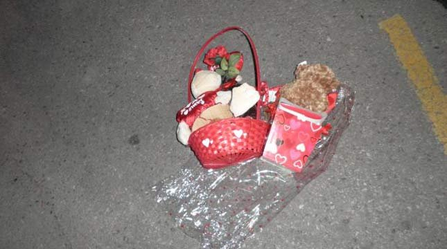 Photo of teddy bear baskets taken as evidence by Oregon State Police.