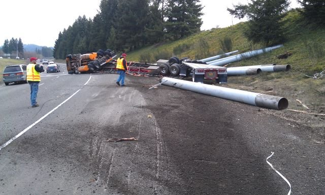 I-5 offramp crash // Photo: Oregon State Police