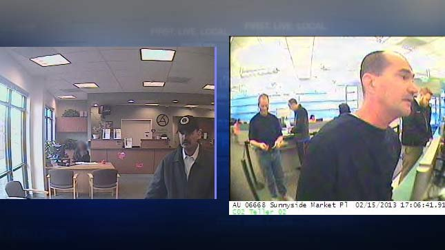Surveillance images from two local bank robberies