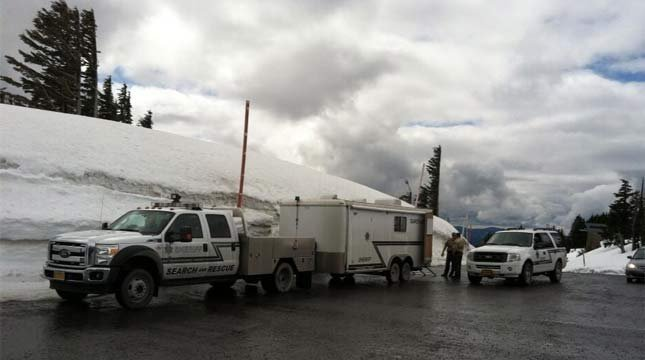 The search command post on Mount Hood.