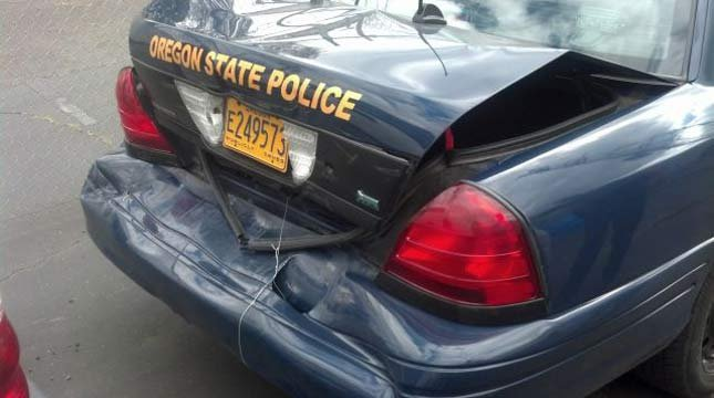 OSP car after crash Sunday