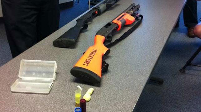 File photo: Less-lethal bean bag shotgun