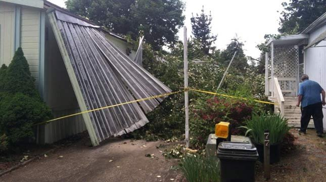 Tree hits carport, photo: Canby Fire District