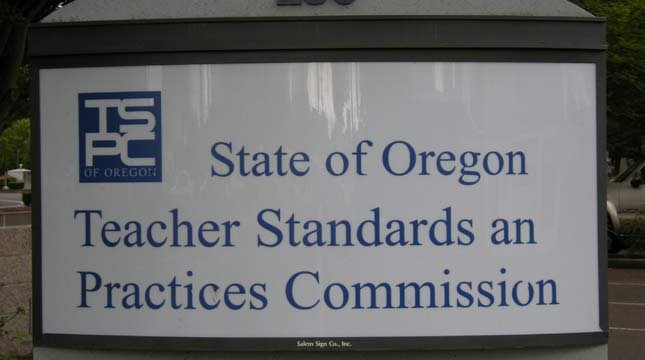 This sign is located outside the Oregon Teacher Standards and Practices Commission. (Photo courtesy: Teacher Standards and Practices Commission.)