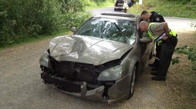 Detectives investigate the crash near Battle Ground. Photo: @ClarkCoSheriff