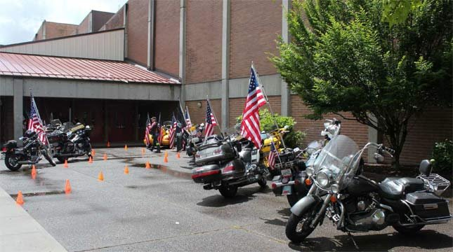 Patriot Guard motorcycles at Prairie High School.