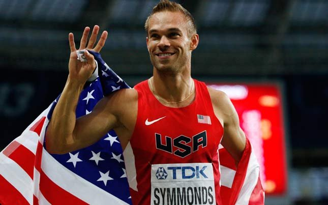 United States' Nick Symmonds celebrates after the men's 800-meter final at the World Athletics Championships in the Luzhniki stadium in Moscow, Russia. (AP Photo/Alexander Zemlianichenko)