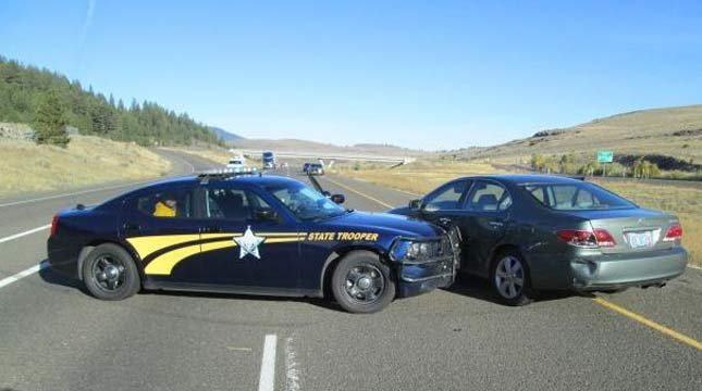 Jacqueline Bell's car, following I-84 police chase involving her great-grandson.