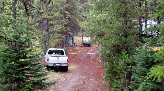 A cabin near Granite, Ore., where a 14-year-old boy shot and killed two others and accidentally shot and wounded himself during a hunting trip on Wednesday. (AP Photo/Grant County Sheriff)