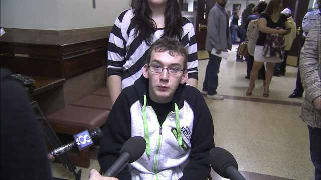 Justin Carey outside the courtroom Monday