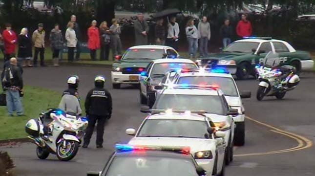 The procession began in Oregon City.