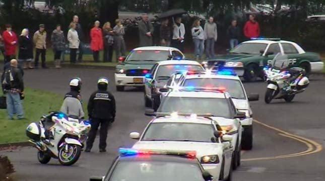The procession began in Oregon City.