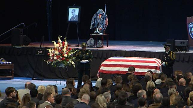 The celebration of life service is being held at Memorial Coliseum.