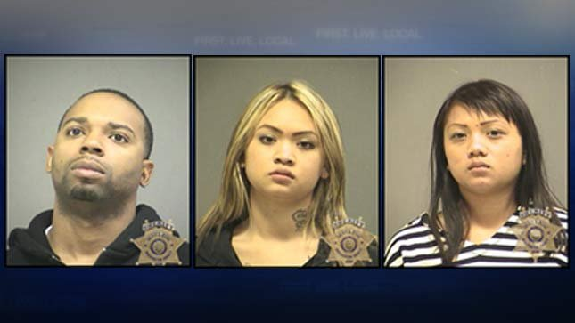 Montral Matthews, Melissa Vongphakdy, Linda Vongphakdy. Jail booking photos.