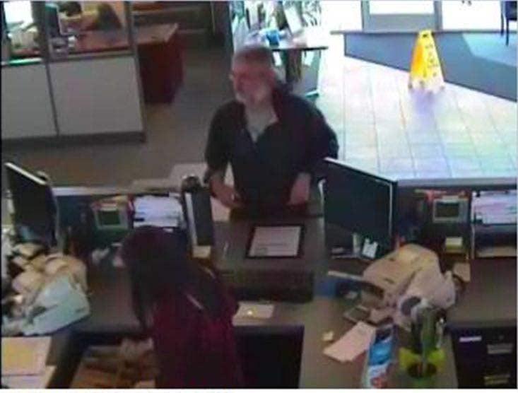 Bank robbery surveillance image, Eugene, Friday