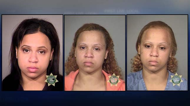 Renee Stanfill, previous booking photos. Far left in 2014, next two from 2011.