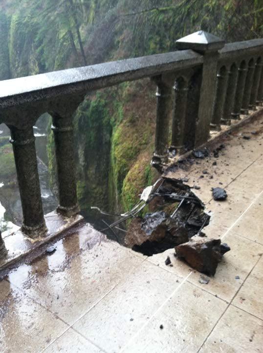 Benson Bridge damaged, January 2014