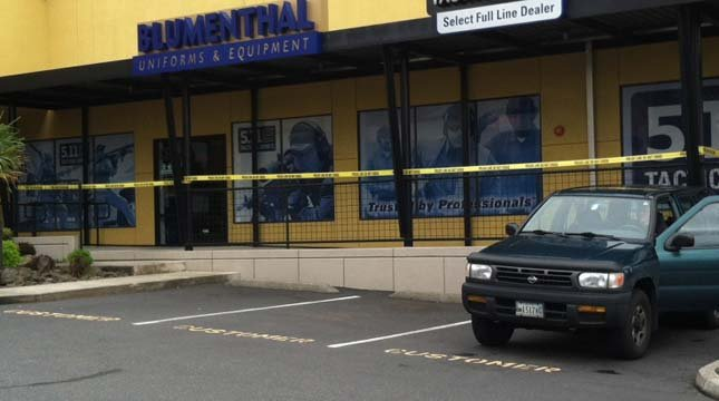 Portland police confirm a crime at Blumenthal Uniforms and Equipment is related to the officer-involved shooting.