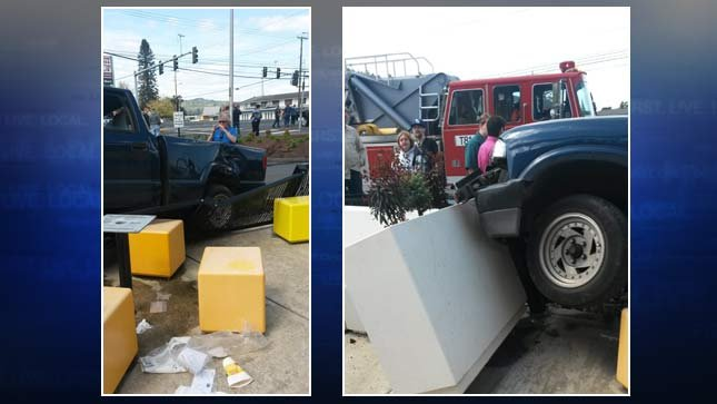 Truck crashes into outdoor seating area at Longview McDonald's
