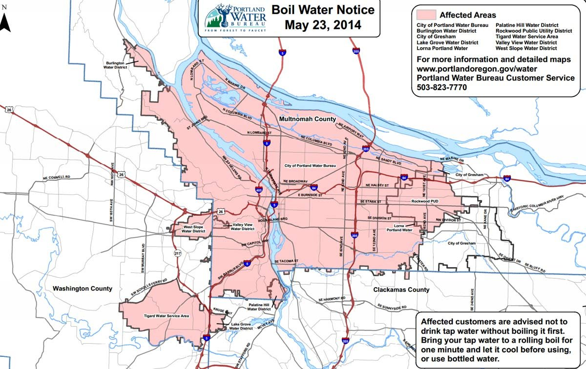 Boil water order, affected areas
