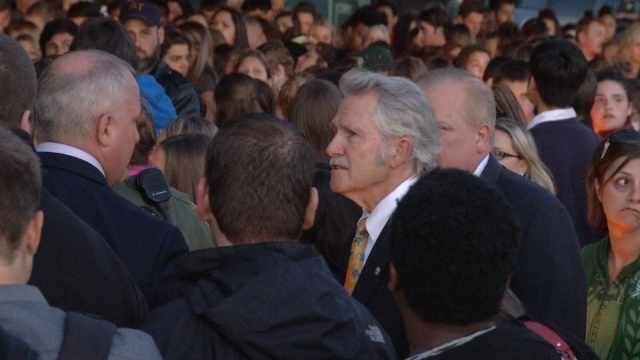 Gov. John Kitzhaber at candlelight vigil for Emilio Hoffman in Troutdale on Tuesday.