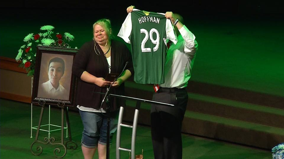 The Portland Timbers created an Emilo Hoffman jersey that was given to the teen's family on Sunday.