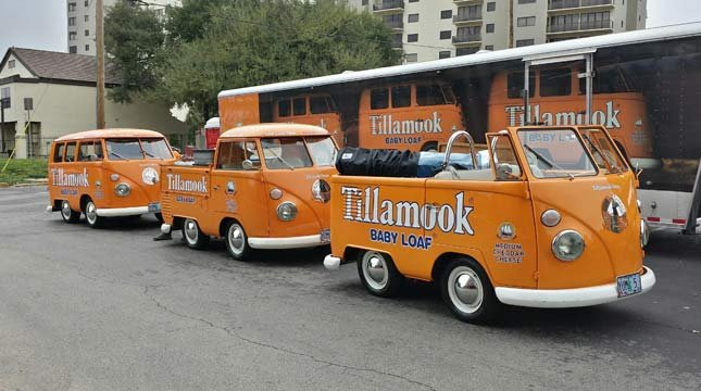 Three Tillamook Cheese VW mini-buses were stolen from a hotel parking lot in California.