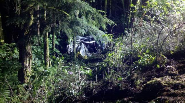 A car crashed down a heavily wooded embankment near Cannon Beach and went undiscovered for 12 hours. Photo: OSP