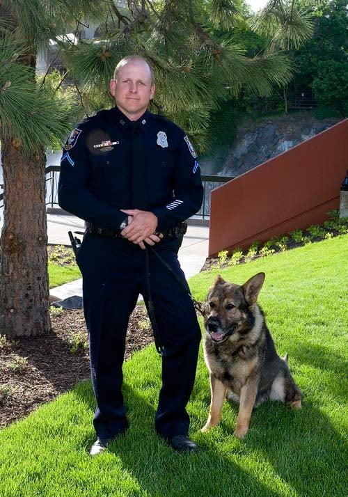Photo of Officer Dan Lesser and K-9 Rav from the Spokane Police Department.