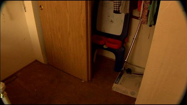 Police believe the man hid in this closet for hours.