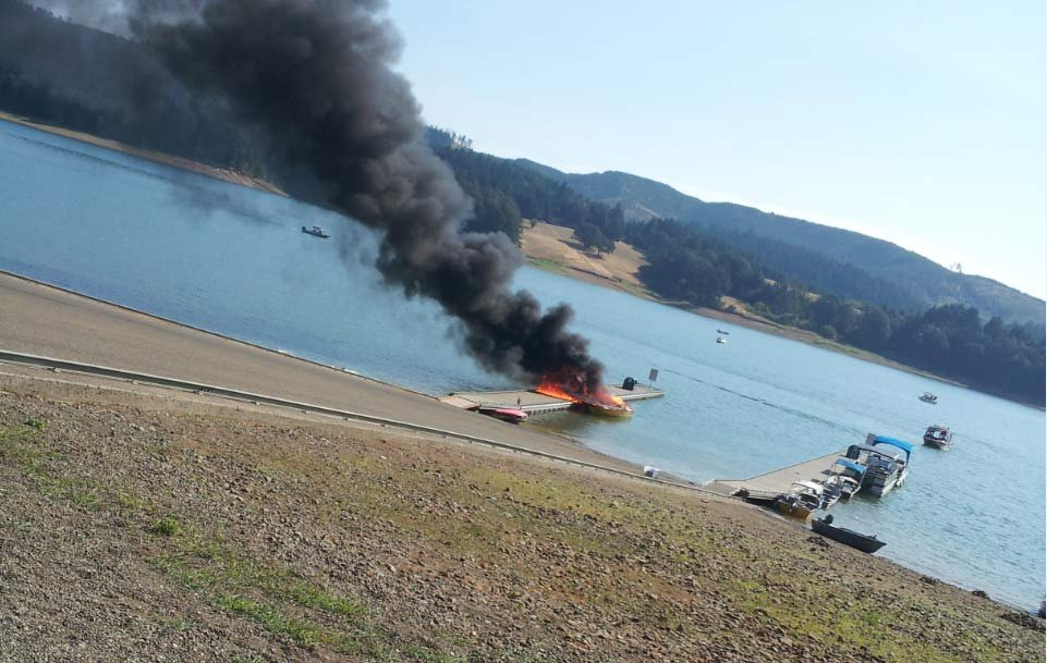 A boat fire caused $50,000 damage to a dock at Henry Hagg Lake. (Photo: Washington Co. Sheriff's Office)